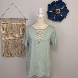 Socialite pastel green with lace up front NWT